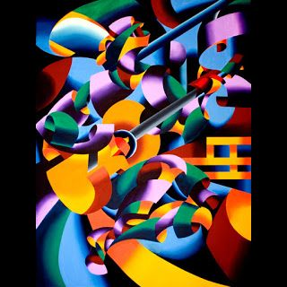 Mark Webster - The Guitar Player in San Gimignano - Abstract Geometric Figurative Oil Painting