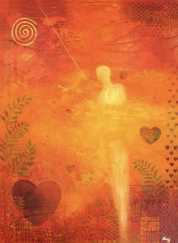 "Original Contemporary Abstract Mixed Media Mystical Figure Art Painting ""Heart Full of Love"" by Contemporary Arizona Artist Pat Stacy"