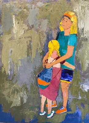 "Contemporary Expressionist Figurative Art Painting, Mother and Child ""Comforting Arms"" by Oklahoma Artist Nancy Junkin"