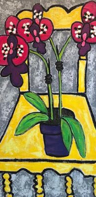 "Contemporary Still Life Art,Narrative Art Painting,Interior View ""Tulips on Yellow Chair"" Narrative Art by Santa Fe Artist Judi Goolsby"