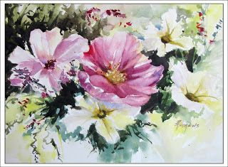 Summer Bouquet..Watercolor..Texas Artist..Rae Andrews