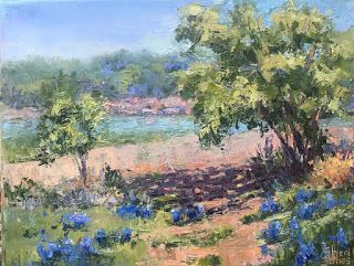 Contemporary Impressionistic Floral Blue Bonnet Landscape Palette Knife Original Oil Painting by Sheri Jones