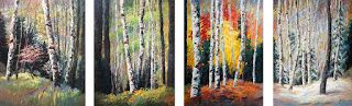 "New ""Evolving Seasons"" Quadriptych Painting by Contemporary Impressionist Niki Gulley"