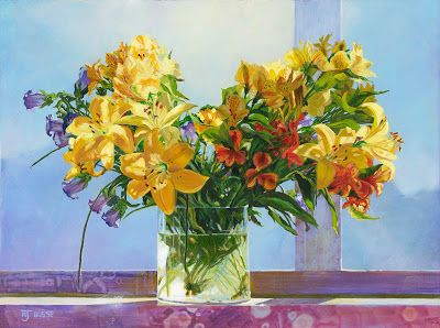 "Original Still Life Lily Painting by ""Lilies on the Windowsill"" Colorado Artist Nancee Jean Busse"