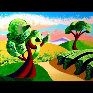 Mark Webster - Abstract Geometric Tuscan Vineyard Landscape Oil Painting