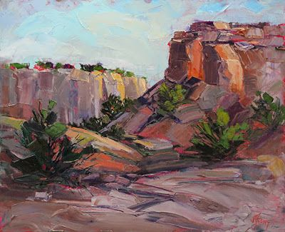 "Red Rock, Contemporary Impressionist Colorado Landscape Painting, Fine Art Oil Painting,""Avenue of the Big Cats"" by Colorado Contemporary Fine Artist Jody Ahrens"