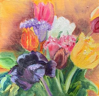 Tulip Bouquet, by Melissa A. Torres, 4x4 oil on canvas