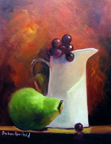 White Jug,Grapes,and Pear, still life, Barbara Haviland