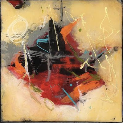 """Contemporary Abstract Expressionist Fine Art Painting, Mixed Media Painting """"September Home"""" by Contemporary Expressionist Pamela Fowler Lordi"""