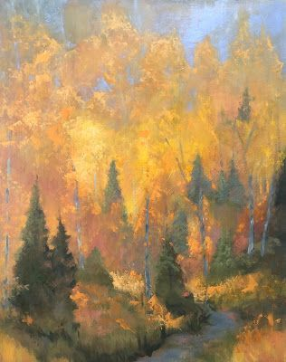 "Impressionist Fall Landscape Fine Art Oil Painting, Fall Trees ""FALL ON FIRE"" by Colorado Artist Susan Fowler"