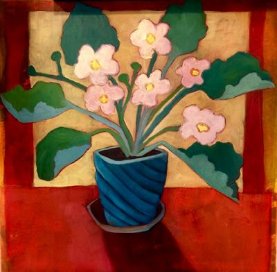 "Contemporary Abstract Bold Expressive Still Life Flower Art Print ""Little Pink Violets"" by Santa Fe Artist Annie O'Brien Gonzales"