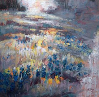 """New """"Nature's Brushstrokes IV"""" Abstract Bluebonnet Painting by Niki Gulley"""