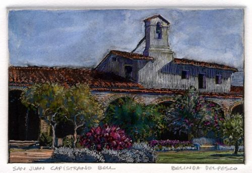 Dark Field Monotype with Watercolor and Colored Pencil - San Juan Capistrano Bell