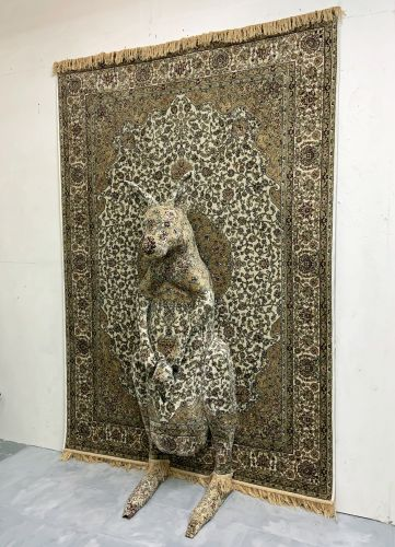 Life-Sized Wildlife Protrude from Ornate Rugs in Perspective-Bending Sculptures