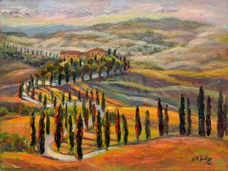 """New """"Serpentine Drive"""" in Tuscany by Palette Knife Artist Niki Gulley"""