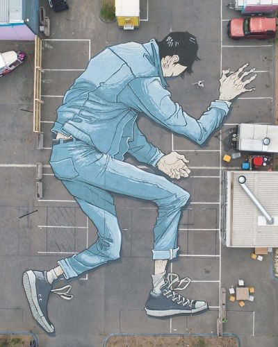 Muralist Kitt Bennett Paints Pavement With Sprawling Giants