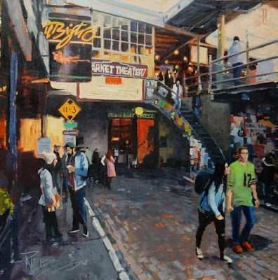 """Bistro"" Seattle city oil painting by Robin Weiss"