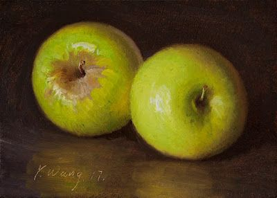 Green apple still life oil painting small still life painting fruit