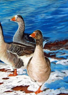 "Original Pastel Geese Painting ""Geese at Corn Lake"" by Colorado Artist Nancee Jean Busse"