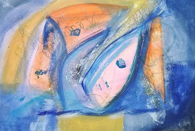 "Abstract Expressionism, Contemporary Art, Mixed Media Painting ""Shark Attack"" by Arizona Abstract Artist Cynthia A. Berg"