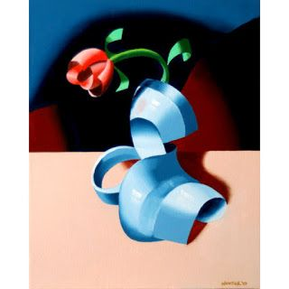 Mark Webster - Futurist Rose in Vase 2 - Abstract Geometric Oil Painting