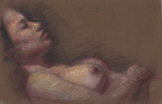 Sleeping female nude from life