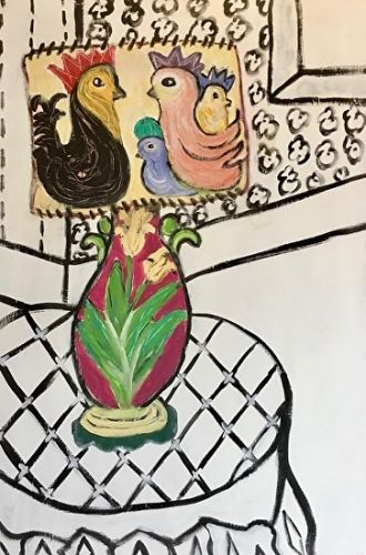 "Contemporary Painting, Folk Art, Narrative Art Painting,Still Life ""Best Lamp in Santa Fe House"" Narrative Art by Santa Fe Artist Judi Goolsby"