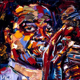 "Abstract Jazz Music Art Portrait Painting ""Louis Armstrong"" by Texas Artist Debra Hurd"