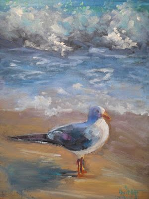 Beach Oil Painting, Seagull and Surf Art, Coastal Home Decor, Small Oil Painting, Daily Painter