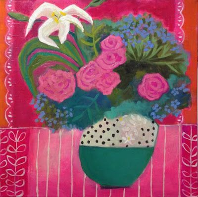 "Contemporary Abstract Still Life Flower Art Painting ""Fiesta Summer"" by Santa Fe Artist Annie O'Brien Gonzales"