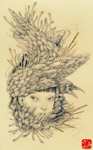 Meticulous Portraits of Young Women by Ozabu Are Eerily Fused with Plants and Feathers