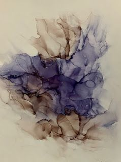 """Alcohol Inks, Abstract Painting, Contemporary Art """"A DANCE IN PURPLE AND MINK"""" by Florida Artist Mary Ann Ziegler"""