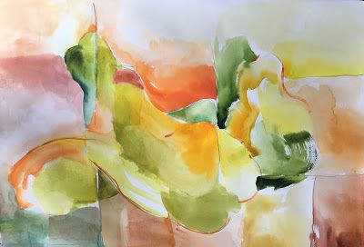 "Watercolor Fracture Image ""Papayas"" Hawaii artist Arlene G. Woo"
