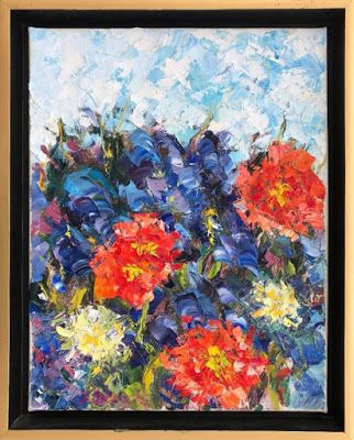 """Abstract Palette Knife Flower Art Painting """"Long's Garden"""" by Colorado Impressionist Judith Babcock"""