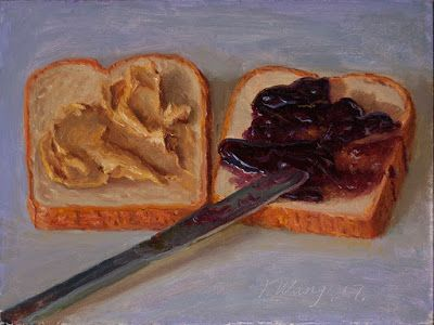 P&b sandwich painting original still life painting a day