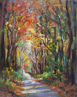 "Just Sold - ""Autumn Journey"" Palette Knife Painting by Niki Gulley"
