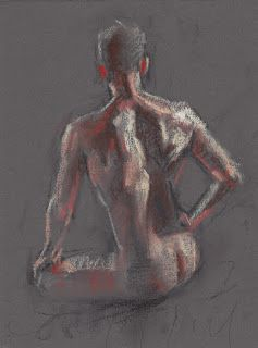 Seated male nude academic pastel drawing