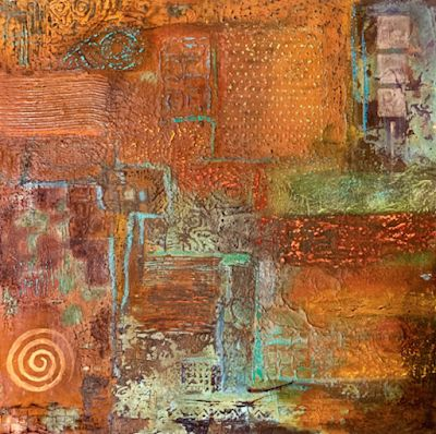 "Southwestern Art,Contemporary Art, Mixed Media, Abstract Art Painting ""Textures 1"" by Arizona Artist Pat Stacy"