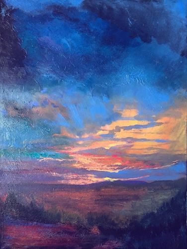 Colorful Contemporary Landscape Painting, Sunset Sky Painting