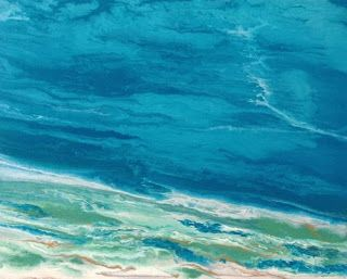 Original Contemporary Abstract Seascape Art Painting 'Emerald Waters' by International Contemporary Landscape Artist Kimberly Conrad