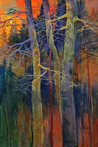 "Acrylic Abstract Tree Painting, Contemporary Landscape, ""Twilight Dance"" by Carol Nelson Fine Art"