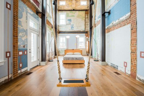 Swing House: A Three-Story Swing Suspended from the Ceiling of a Gutted Cincinnati Home by Mark deJong