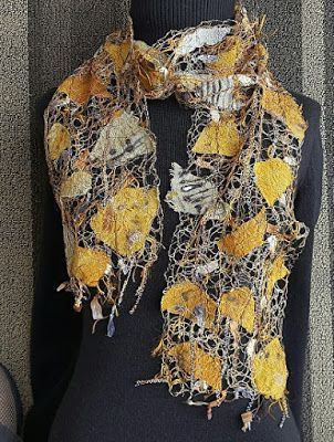 "Scarf, Wearable Art Artful Apparel, ""SHARDS PROMINENCE SCARF-SHADES OF GOLD"" by Colorado Artist and Designer Gerri Calpin"