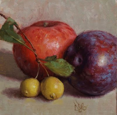 """Plums and Crab Apples"" Oil on 5x5 in. linen panel"