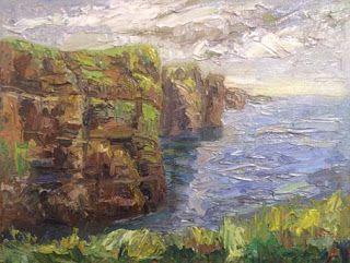 """Cliffs of Moher"" Palette Knife Painting by Niki Gulley"