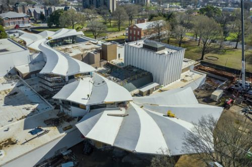 The Signature Roof of Studio Gang's Arkansas Museum of Fine Arts Reaches Completion