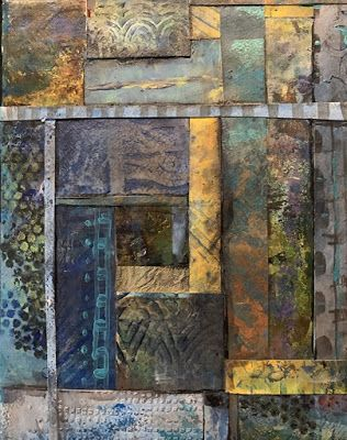 "Contemporary Painting, Mixed Media Art, ""A STUDY IN BLUES AND TANS"" by Florida Contemporary Artist Mary Ann Ziegler"
