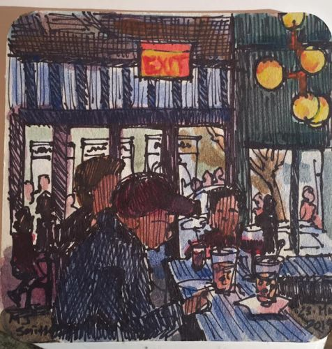 "Day 539 ""Coaster Art - NY City Lunch"" ink & watercolor"