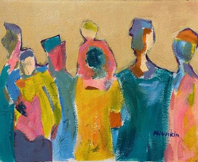 "Expressionist Figurative, Abstract Painting, ""ALL TOGETHER NOW"" by Oklahoma Artist Nancy Junkin"