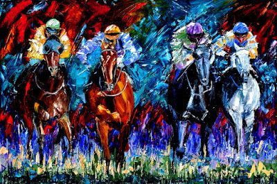 "Horse Race Art Painting Colorful Paintings Oil on Canvas ""The Four"" By Debra Hurd"